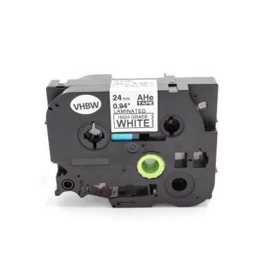 Taśma zamiennik Brother HGe-251, 24mm x 8m, czarny druk/biały podkład