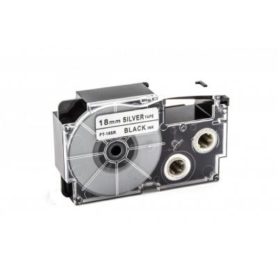 Taśma zamiennik Casio XR-18SR1 18mm x 8m czarny druk / srebrny podkład