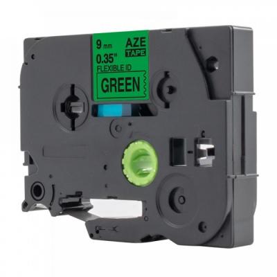Taśma zamiennik Brother TZ-FX721 / TZe-FX721, 9mm x 8m, flexi, czarny druk / zielony podkład