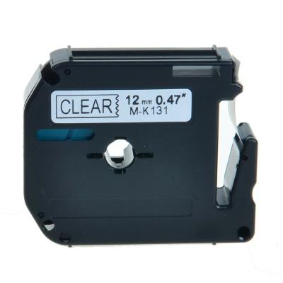 Taśma zamiennik Brother MK-131, 12mm x 8m, czarny druk / przezroczysty podkład