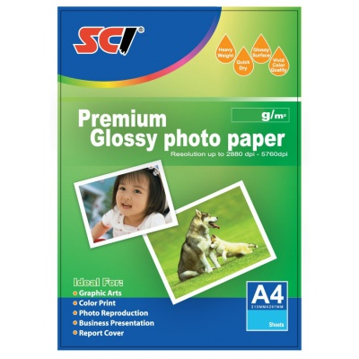 SCI GPP-200 Glossy Inkjet Photo Paper, 200g, A4, 20 listů, błyszczący papier fotograficzny
