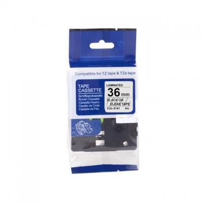 Taśma zamiennik Brother TZ-S161 / TZe-S161, 36mm x 8m, mocno klejący, czarny druk / przezroczysty podkład