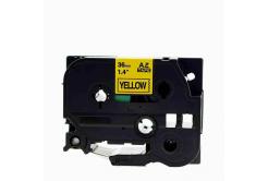 Brother TZe-V661, 36mm x 5,5m, czarny druk / żółty podkład, vinyl, taśma zamiennik