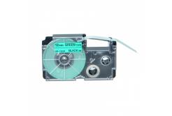 Taśma zamiennik Casio XR-12GN1, 12mm x 8m czarny druk / zielony podkład