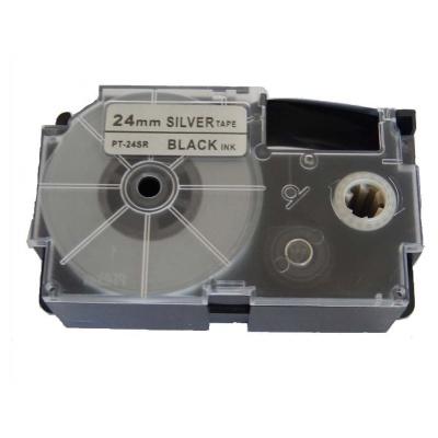 Taśma zamiennik Casio XR-24SR1 24mm x 8m czarny druk / srebrny podkład