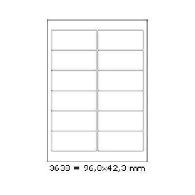 Samoprzylepne etykiety 96 x 42,3 mm, 12 etykiet, A4, 100 arkuszy