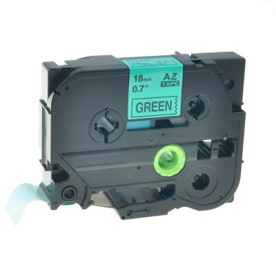 Brother TZe-V741, 18mm x 5,5m, czarny druk / zielony podkład, vinyl, taśma zamiennik