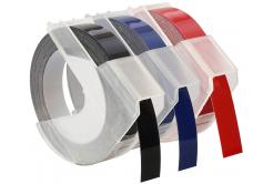 Taśma zamiennik Dymo S0847750, 9mm x 3 m, biały druk / czarny, niebieski, czerwona, 3 szt