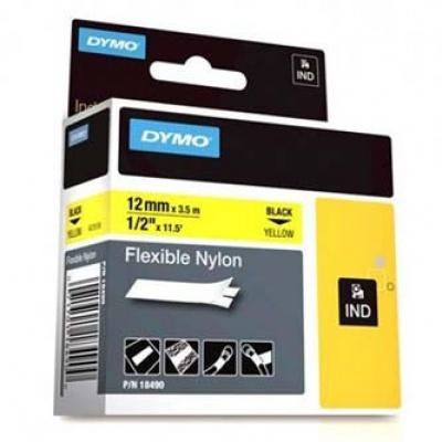 Dymo Rhino 18490, S0718080, 12mm x 3,5m czarny druk / żółty podkład, taśma oryginalna