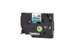 Taśma zamiennik Brother TZ-735 / TZe-735, 12mm x 8m, biały druk / zielony podkład