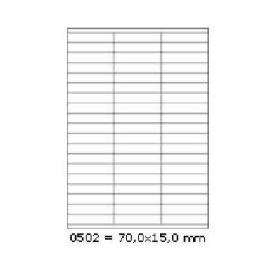 Samoprzylepne etykiety 70 x 15 mm, 57 etykiet, A4, 100 arkuszy