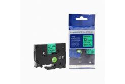 Taśma zamiennik Brother TZ-731 / TZe-731, 12mm x 8m, czarny druk / zielony podkład