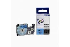 Taśma zamiennik Casio XR-9BU1, 9mm x 8m czarny druk / niebieski podkład