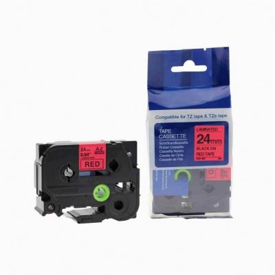 Taśma zamiennik Brother TZ-451 / TZe-451, 24mm x 8m, czarny druk / czerwony podkład