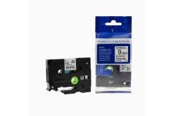 Taśma zamiennik Brother TZ-FX221 / TZe-FX221, 9mm x 8m, flexi, czarny druk / biały podkład