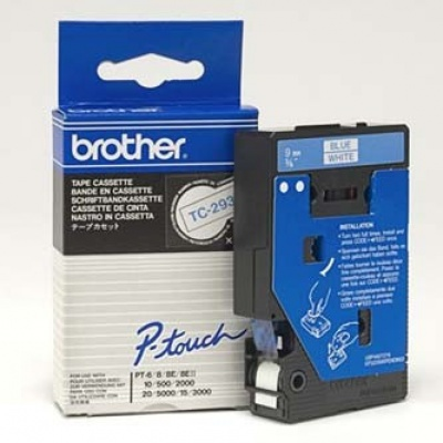 Brother TC-293, 9mm x 7,7m, niebieski druk / biały podkład, taśma oryginalna