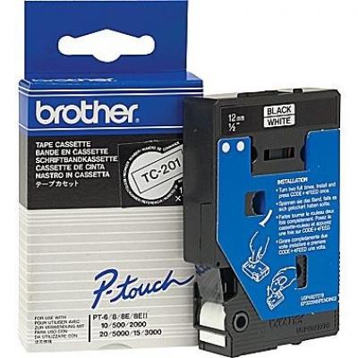 Brother TC-201, 12mm x 7,7m, czarny druk / biały podkład, taśma oryginalna
