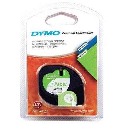 Dymo LetraTag 59421, S0721500, 12mm x 4m czarny druk / biały podkład, taśma oryginalna