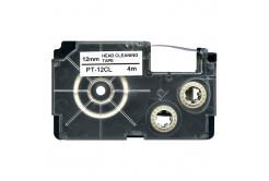 Casio XR-12CL, 12mm x 4m, czarny druk / biały podkład, czyszczenie, taśma zamiennik