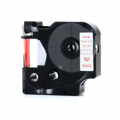 Taśma zamiennik Dymo 53715, 24mm x 7m, czerwony druk / biały podkład