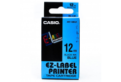 Casio XR-12BU1, 12mm x 8m, czarny druk / niebieski podkład, taśma oryginalna