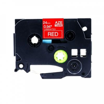 Taśma zamiennik Brother TZ-455 / TZe-455, 24mm x 8m, biały druk / czerwony podkład