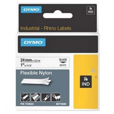 Dymo Rhino 1734524, S0773840, 24mm x 3,5m, czarny druk / biały podkład, taśma oryginalna