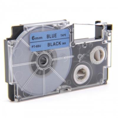 Taśma zamiennik Casio XR-6BU1, 6mm x 8m czarny druk / niebieski podkład