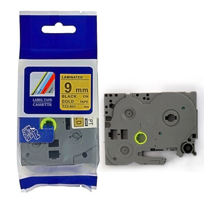 Taśma zamiennik Brother TZ-821 / TZe-821, 9mm x 8m, czarny druk / złoty podkład