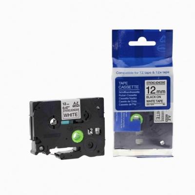Taśma zamiennik Brother TZ-S231 / TZe-S231 12mm x 8m mocno klejący, czarny druk / biały podkład