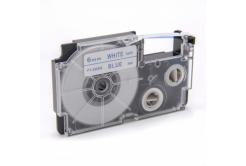 Casio XR-6WEB 6mm x 8m niebieski druk / biały podkład, taśma zamiennik