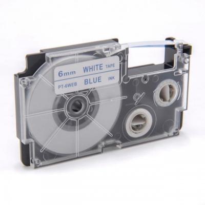 Taśma zamiennik Casio XR-6WEB 6mm x 8m niebieski druk / biały podkład