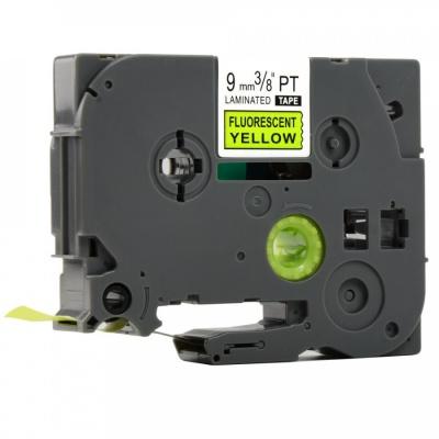 Taśma zamiennik Brother TZ-C21 / TZe-C21, signální 9mm x 8m, czarny druk / żółty podkład