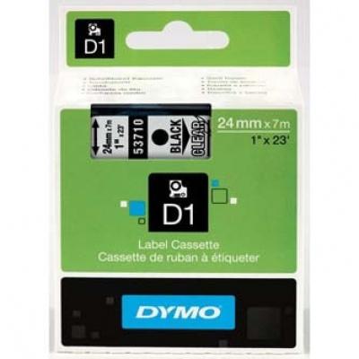 Dymo D1 53710, S0720920, 24mm x 7m czarny druk / przezroczysty podkład, taśma oryginalna