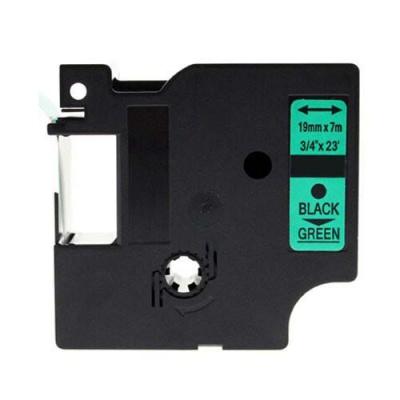 Taśma zamiennik Dymo 45809, S0720890, 19mm x 7m, czarny druk / zielony podkład