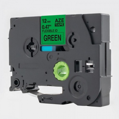 Taśma zamiennik Brother TZ-FX731 / TZe-FX731, 12mm x 8m, flexi, czarny druk / zielony podkład