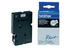 Brother TC-291, 9mm x 7,7m, czarny druk / biały podkład, taśma oryginalna