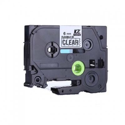 Taśma zamiennik Brother TZ-FX111 / TZe-FX111, 6mm x 8m, flexi, czarny druk / przezroczysty podkład