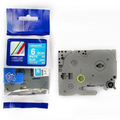Taśma zamiennik Brother TZ-515 / TZe-515, 6mm x 8m, biały druk / niebieski podkład