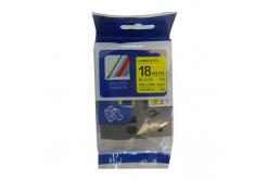 Taśma zamiennik Brother TZ-S641 / TZe-S641 18mm x 8m mocno klejący, czarny druk / żółty podkład