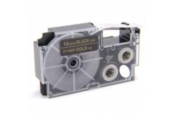 Taśma zamiennik Casio XR-12BKG 12mm x 8m złoty druk / biały podkład