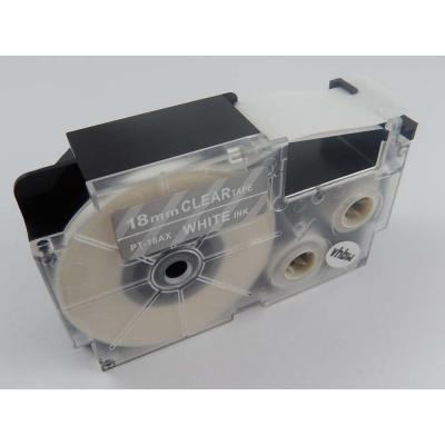 Taśma zamiennik Casio XR-18AX 18mm x 8m biały druk / przezroczysty podkład