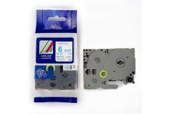 Taśma zamiennik Brother TZ-213 / TZe-213, 6mm x 8m, niebieski druk / biały podkład