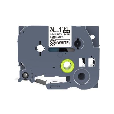 Brother TZ-SE5 / TZe-SE5, 24mm x 8m, czarny druk / biały podkład, bezpieczeństwo, taśma zamiennik