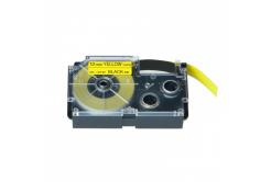 Taśma zamiennik Casio XR-12YW1, 12mm x 8m czarny druk / żółty podkład