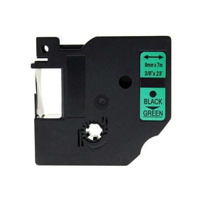 Taśma zamiennik Dymo 40919, S0720740, 9mm x 7m czarny druk / zielony podkład
