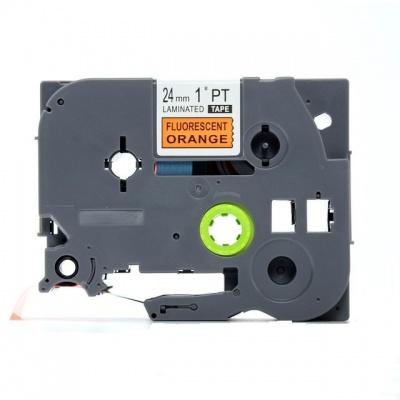 Taśma zamiennik Brother TZ-B51 / TZe-B51, signální 24mm x 8, czarny druk / pomarańczowy podkład