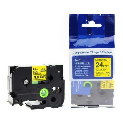 Taśma zamiennik Brother TZ-S651 / TZe-S651 24mm x 8m mocno klejący, czarny druk / żółty podkład