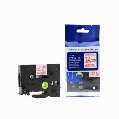 Taśma zamiennik Brother TZ-232 / TZe-232, 12mm x 8m, czerwony druk / biały podkład