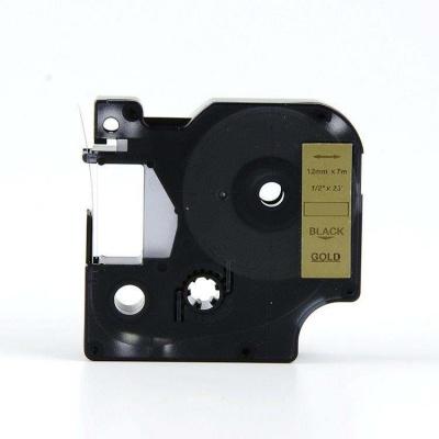 Taśma zamiennik Dymo 45023, S0720630, 12mm x 7m czarny druk / złoty podkład